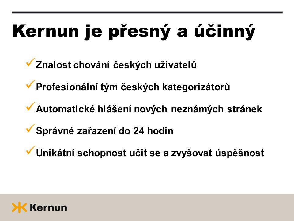 Kernun je přesný a účinný Znalost chování českých uživatelů Profesionální tým českých kategorizátorů Automatické hlášení nových neznámých stránek Správné zařazení do 24 hodin Unikátní schopnost učit se a zvyšovat úspěšnost