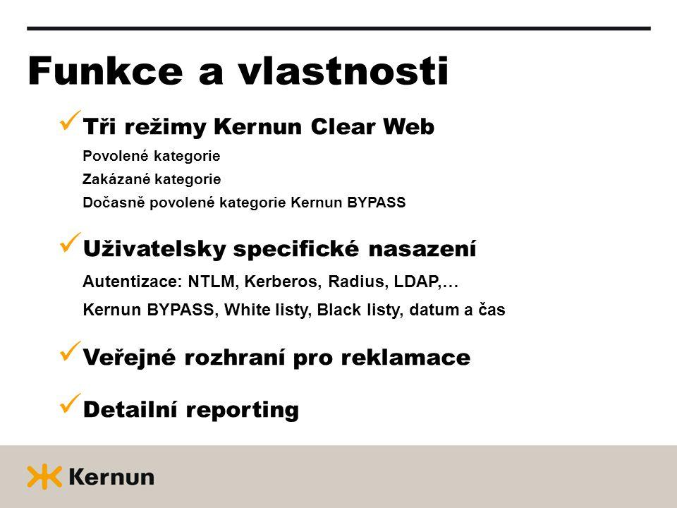 Funkce a vlastnosti Tři režimy Kernun Clear Web Povolené kategorie Zakázané kategorie Dočasně povolené kategorie Kernun BYPASS Uživatelsky specifické nasazení Autentizace: NTLM, Kerberos, Radius, LDAP,… Kernun BYPASS, White listy, Black listy, datum a čas Veřejné rozhraní pro reklamace Detailní reporting