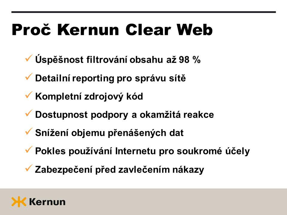 Proč Kernun Clear Web Úspěšnost filtrování obsahu až 98 % Detailní reporting pro správu sítě Kompletní zdrojový kód Dostupnost podpory a okamžitá reakce Snížení objemu přenášených dat Pokles používání Internetu pro soukromé účely Zabezpečení před zavlečením nákazy