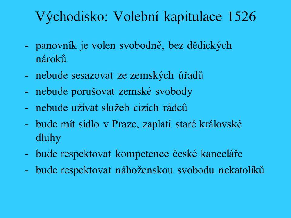 Východisko: Volební kapitulace 1526 -panovník je volen svobodně, bez dědických nároků -nebude sesazovat ze zemských úřadů -nebude porušovat zemské svo