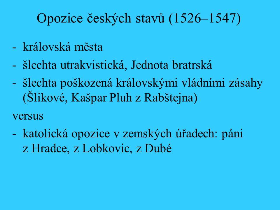 Opozice českých stavů (1526–1547) -královská města -šlechta utrakvistická, Jednota bratrská -šlechta poškozená královskými vládními zásahy (Šlikové, K