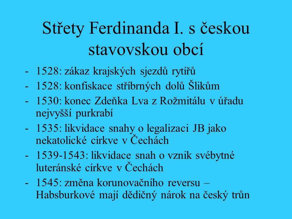 Střety Ferdinanda I. s českou stavovskou obcí -1528: zákaz krajských sjezdů rytířů -1528: konfiskace stříbrných dolů Šlikům -1530: konec Zdeňka Lva z