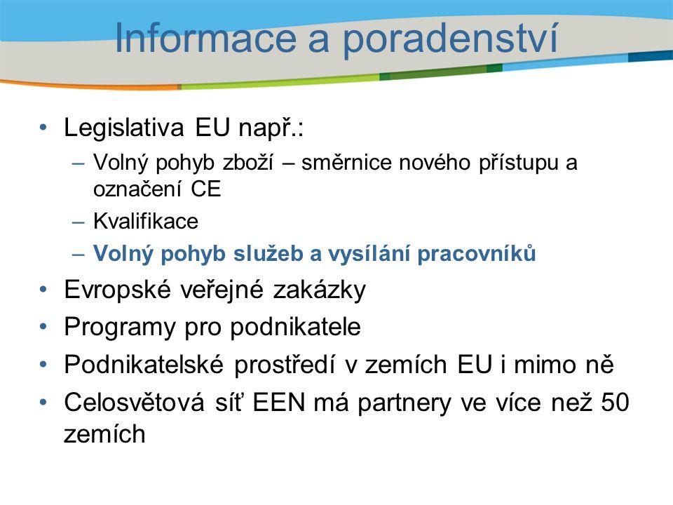 Informace a poradenství Legislativa EU např.: –Volný pohyb zboží – směrnice nového přístupu a označení CE –Kvalifikace –Volný pohyb služeb a vysílání pracovníků Evropské veřejné zakázky Programy pro podnikatele Podnikatelské prostředí v zemích EU i mimo ně Celosvětová síť EEN má partnery ve více než 50 zemích