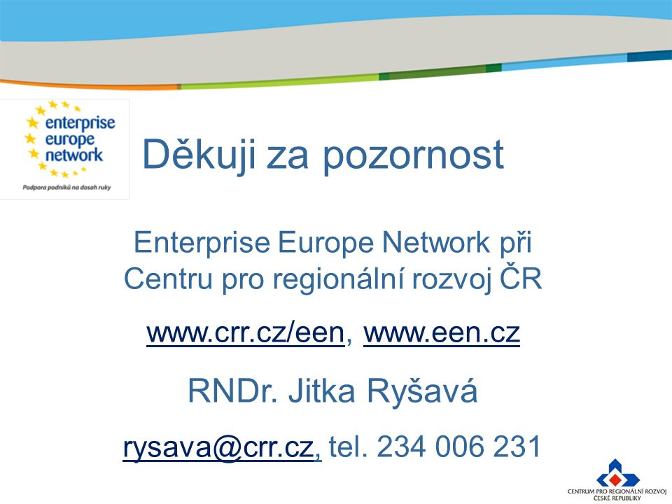 Děkuji za pozornost Enterprise Europe Network při Centru pro regionální rozvoj ČR www.crr.cz/eenwww.crr.cz/een, www.een.czwww.een.cz RNDr. Jitka Ryšav