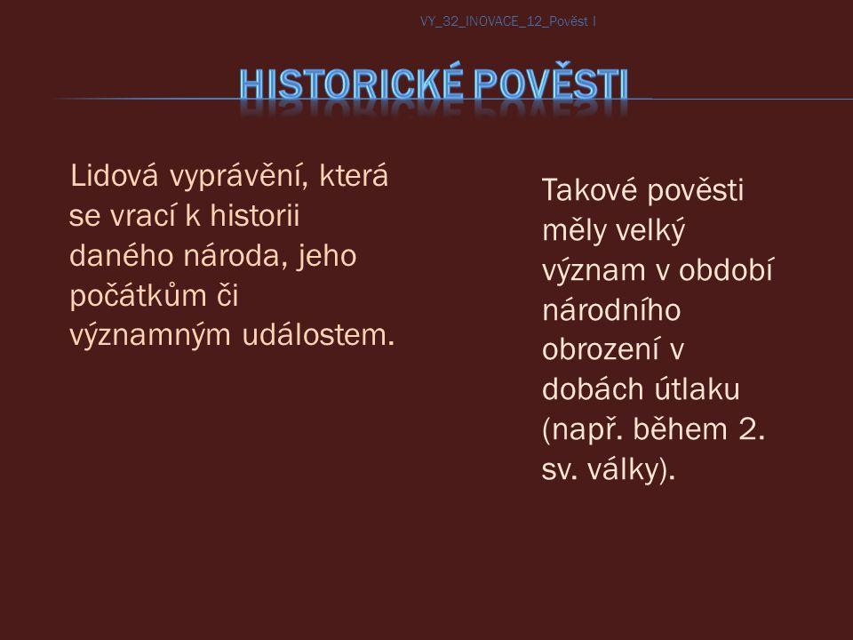 Přemysl Nezamysl Mnata Vnislav Křesomysl Neklan Hostivít Bořivoj VY_32_INOVACE_12_Pověst I