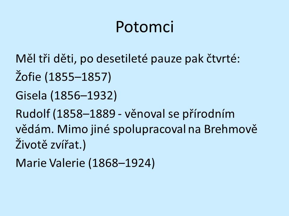 Potomci Měl tři děti, po desetileté pauze pak čtvrté: Žofie (1855–1857) Gisela (1856–1932) Rudolf (1858–1889 - věnoval se přírodním vědám. Mimo jiné s