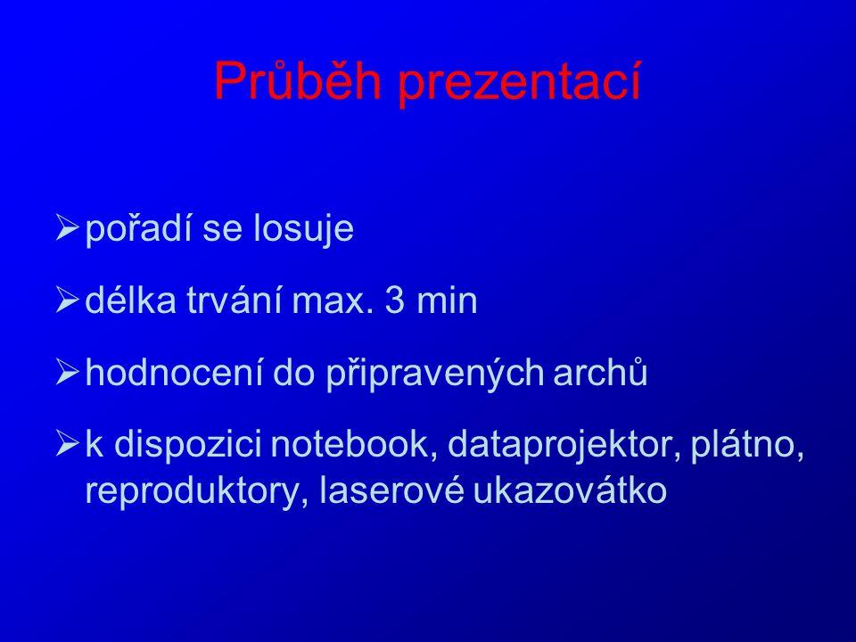 Průběh prezentací  pořadí se losuje  délka trvání max. 3 min  hodnocení do připravených archů  k dispozici notebook, dataprojektor, plátno, reprod