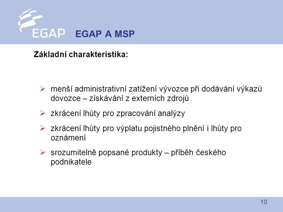 10 Základní charakteristika:  menší administrativní zatížení vývozce při dodávání výkazů dovozce – získávání z externích zdrojů  zkrácení lhůty pro zpracování analýzy  zkrácení lhůty pro výplatu pojistného plnění i lhůty pro oznámení  srozumitelně popsané produkty – příběh českého podnikatele EGAP A MSP