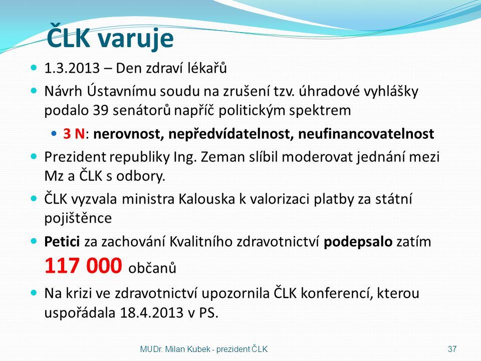 ČLK varuje 1.3.2013 – Den zdraví lékařů Návrh Ústavnímu soudu na zrušení tzv.