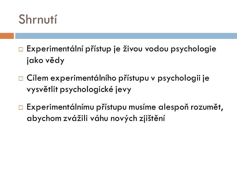Shrnutí  Experimentální přístup je živou vodou psychologie jako vědy  Cílem experimentálního přístupu v psychologii je vysvětlit psychologické jevy