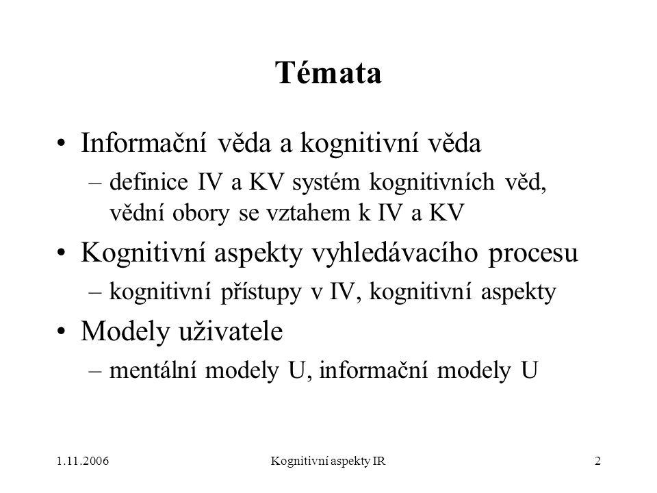 1.11.2006Kognitivní aspekty IR2 Témata Informační věda a kognitivní věda –definice IV a KV systém kognitivních věd, vědní obory se vztahem k IV a KV Kognitivní aspekty vyhledávacího procesu –kognitivní přístupy v IV, kognitivní aspekty Modely uživatele –mentální modely U, informační modely U