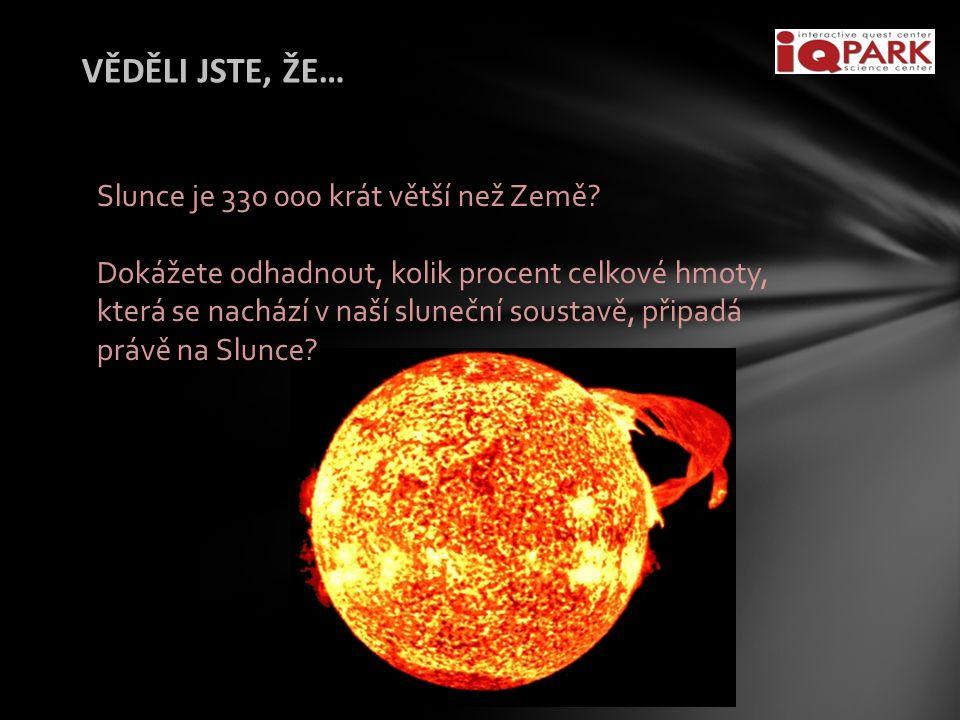 VĚDĚLI JSTE, ŽE… Slunce je 330 000 krát větší než Země.