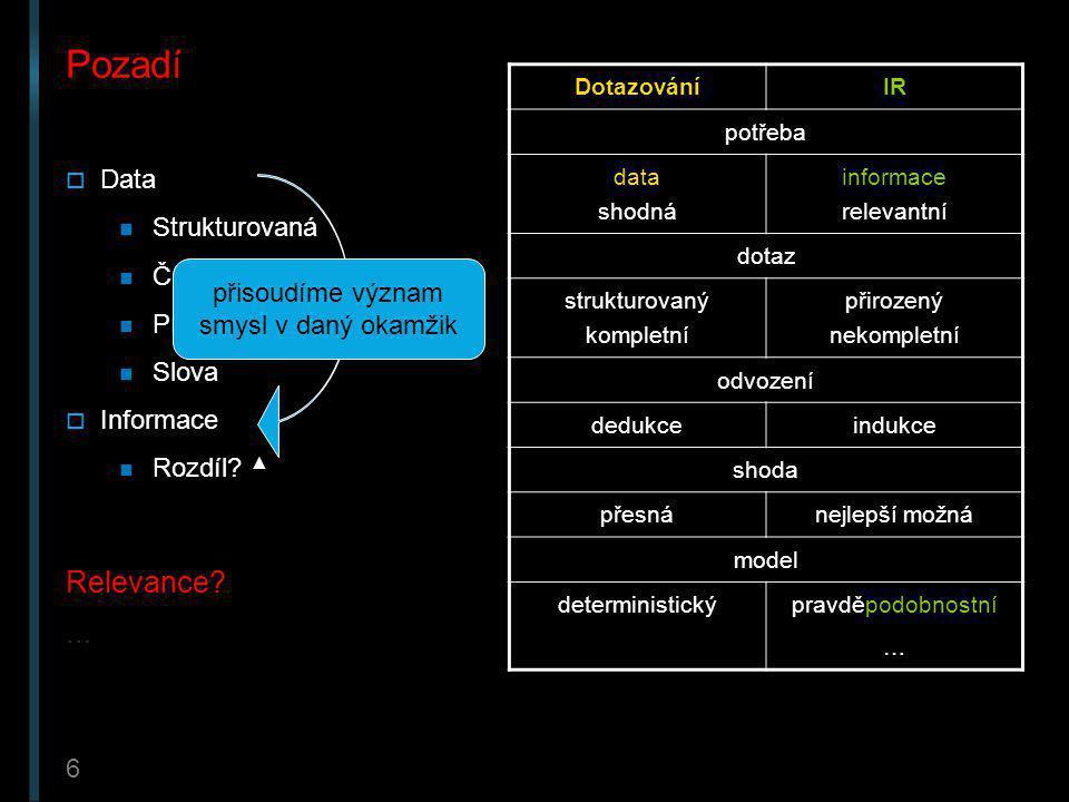 7 Modely Modely IR odpovídají na otázky relevance dotazu k dokumentům v DB:  Jaké dokumenty mají být výsledkem dotazu.