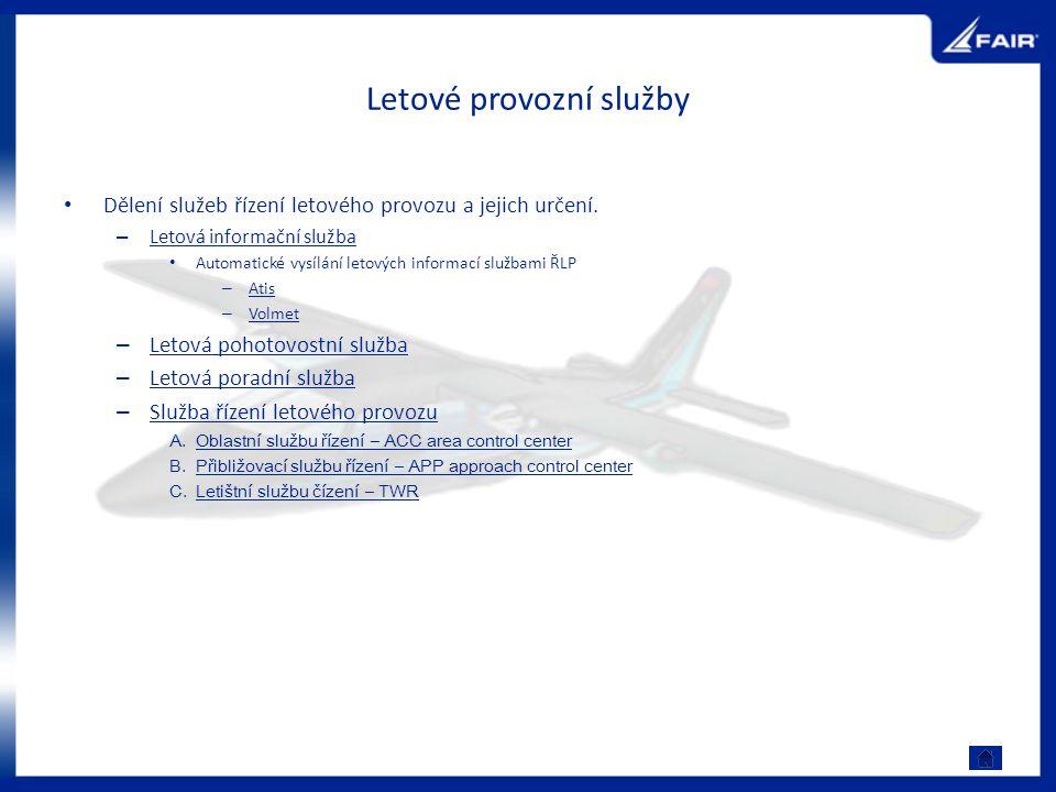 Letové provozní služby Dělení služeb řízení letového provozu a jejich určení. – Letová informační služba Letová informační služba Automatické vysílání