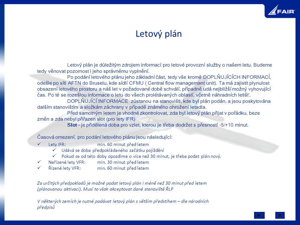 Letový plán Lety IFR: min. 60 minut před letem Udává se doba předpokládaného začátku pojíždění Pokud se od této doby opozdíme o více než 30 minut, je
