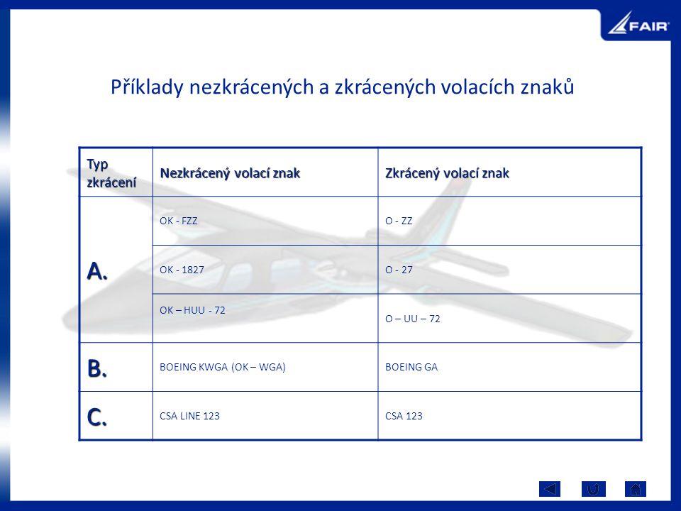 Příklady nezkrácených a zkrácených volacích znaků Typ zkrácení Nezkrácený volací znak Zkrácený volací znak A. OK - FZZO - ZZ OK - 1827O - 27 OK – HUU