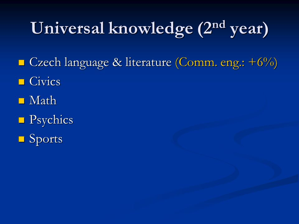 Universal knowledge (2 nd year) Czech language & literature (Comm. eng.: +6%) Czech language & literature (Comm. eng.: +6%) Civics Civics Math Math Ps