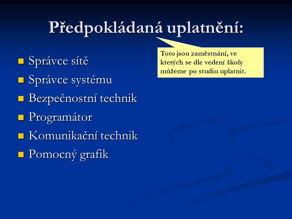 Předpokládaná uplatnění: Správce sítě Správce sítě Správce systému Správce systému Bezpečnostní technik Bezpečnostní technik Programátor Programátor K