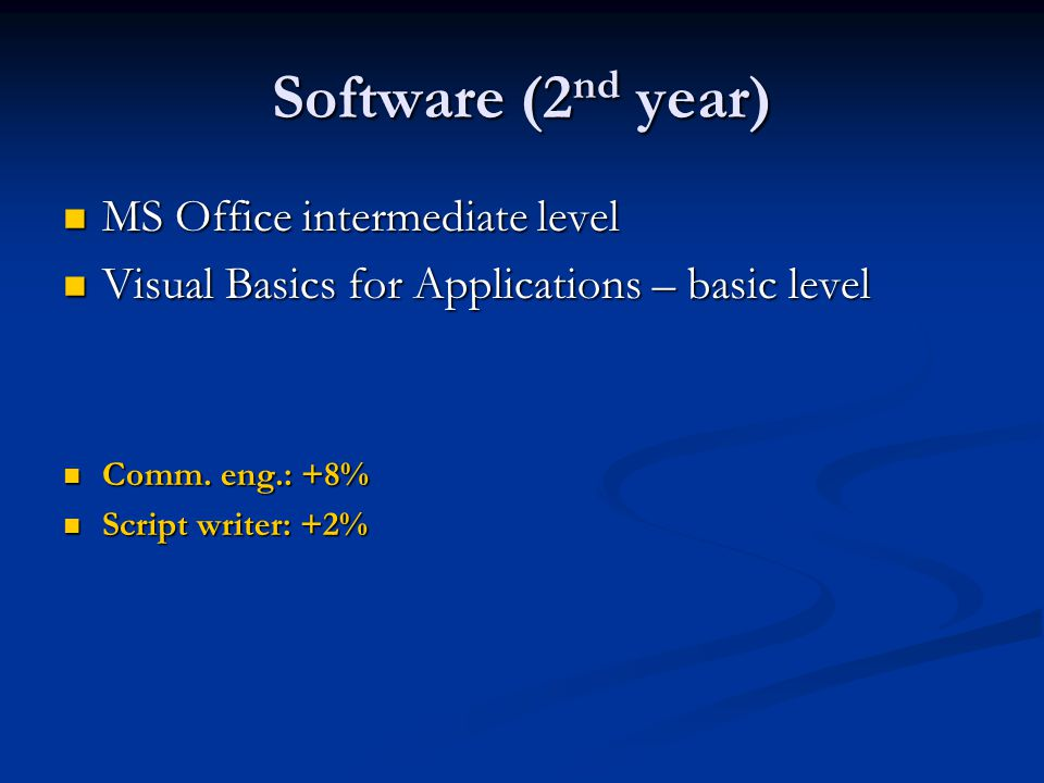 Software (2 nd year) MS Office intermediate level MS Office intermediate level Visual Basics for Applications – basic level Visual Basics for Applicat