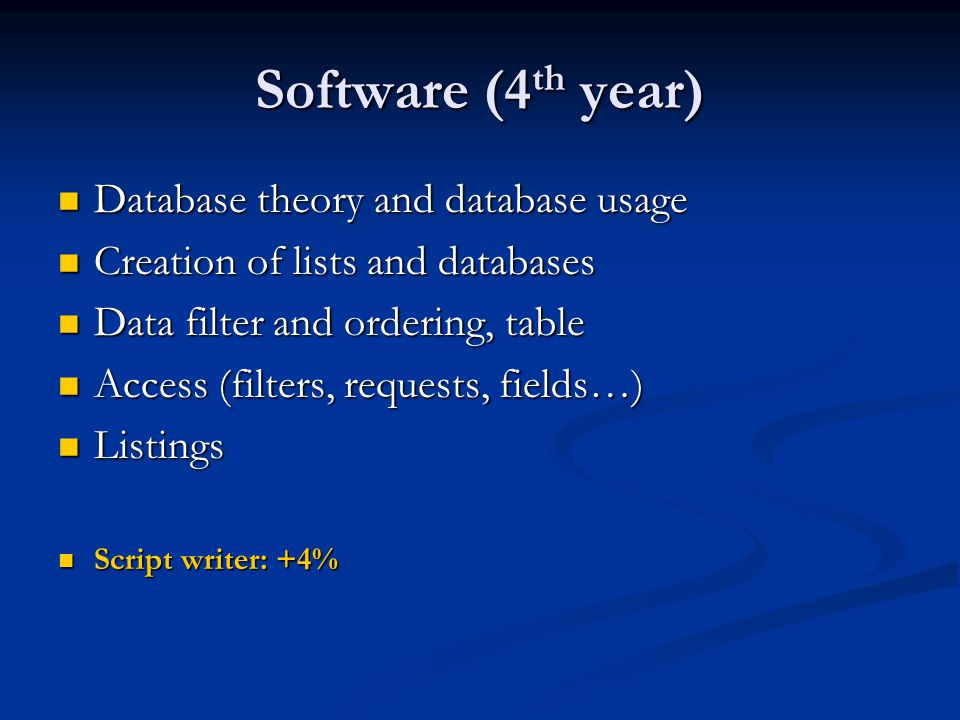 Software (4 th year) Database theory and database usage Database theory and database usage Creation of lists and databases Creation of lists and databases Data filter and ordering, table Data filter and ordering, table Access (filters, requests, fields…) Access (filters, requests, fields…) Listings Listings Script writer: +4% Script writer: +4%