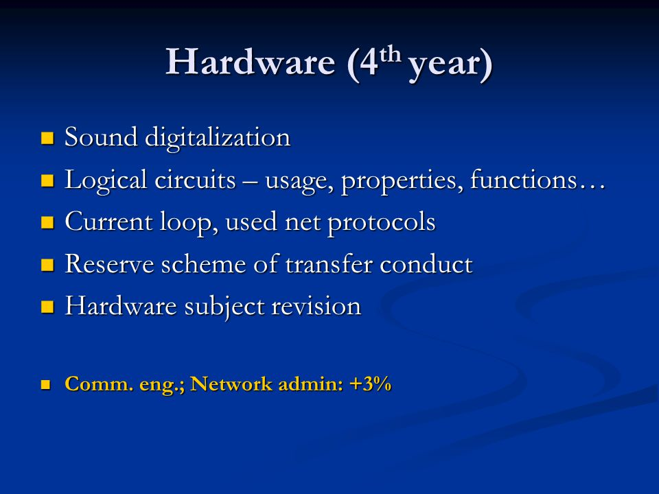 Hardware (4 th year) Sound digitalization Sound digitalization Logical circuits – usage, properties, functions… Logical circuits – usage, properties, functions… Current loop, used net protocols Current loop, used net protocols Reserve scheme of transfer conduct Reserve scheme of transfer conduct Hardware subject revision Hardware subject revision Comm.