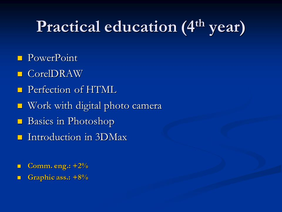 Practical education (4 th year) PowerPoint PowerPoint CorelDRAW CorelDRAW Perfection of HTML Perfection of HTML Work with digital photo camera Work wi