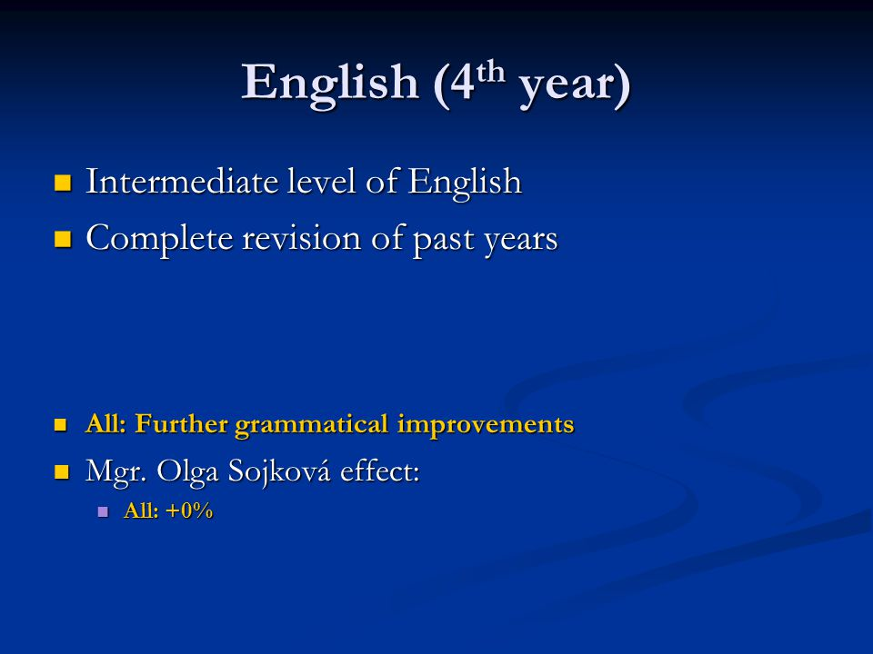 English (4 th year) Intermediate level of English Intermediate level of English Complete revision of past years Complete revision of past years All: Further grammatical improvements All: Further grammatical improvements Mgr.