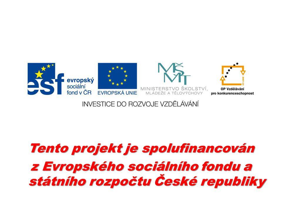 Tento projekt je spolufinancován z Evropského sociálního fondu a státního rozpočtu České republiky