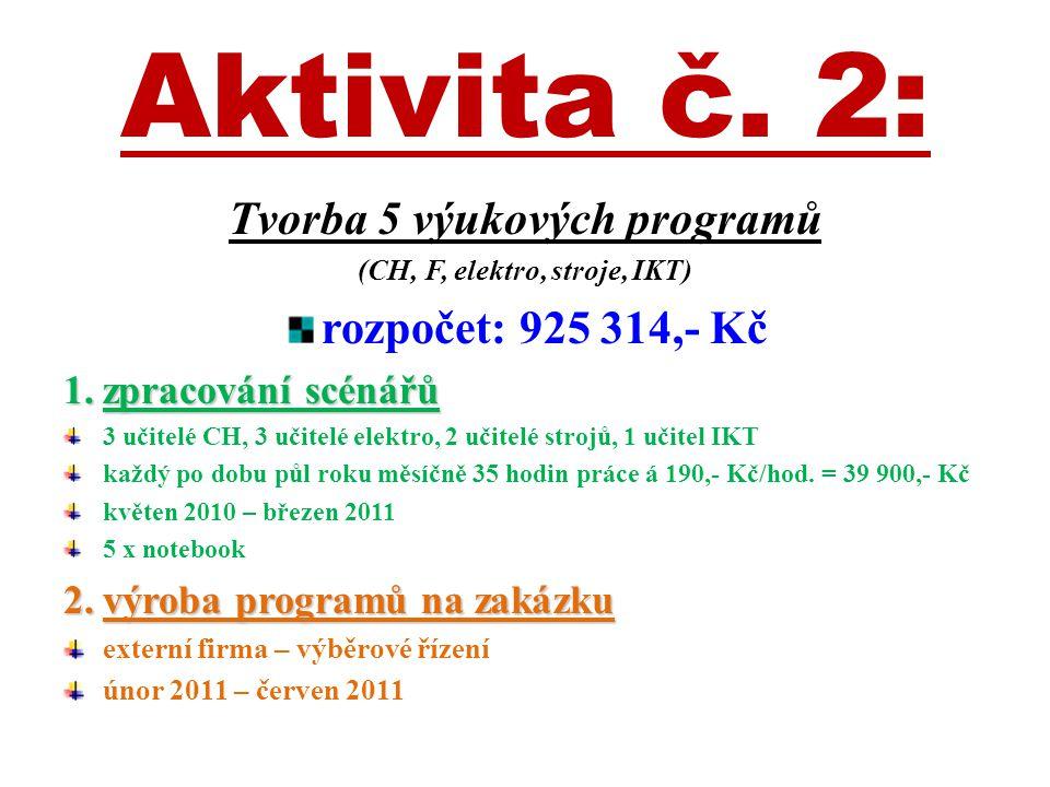 Aktivita č. 2: Tvorba 5 výukových programů (CH, F, elektro, stroje, IKT) rozpočet: 925 314,- Kč 1.zpracování scénářů 3 učitelé CH, 3 učitelé elektro,