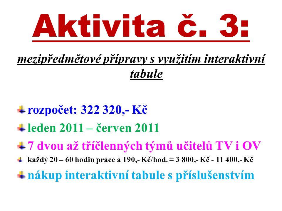Aktivita č. 3: mezipředmětové přípravy s využitím interaktivní tabule rozpočet: 322 320,- Kč leden 2011 – červen 2011 7 dvou až tříčlenných týmů učite