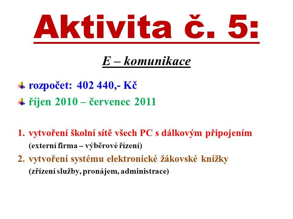 Aktivita č. 5: E – komunikace rozpočet: 402 440,- Kč říjen 2010 – červenec 2011 1.vytvoření školní sítě všech PC s dálkovým připojením (externí firma