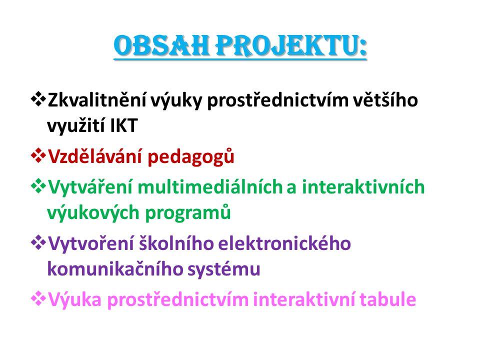 Obsah projektu:  Zkvalitnění výuky prostřednictvím většího využití IKT  Vzdělávání pedagogů  Vytváření multimediálních a interaktivních výukových p