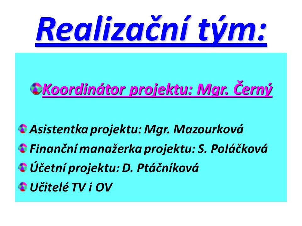 Realizační tým: Koordinátor projektu: Mgr. Černý Asistentka projektu: Mgr. Mazourková Finanční manažerka projektu: S. Poláčková Účetní projektu: D. Pt