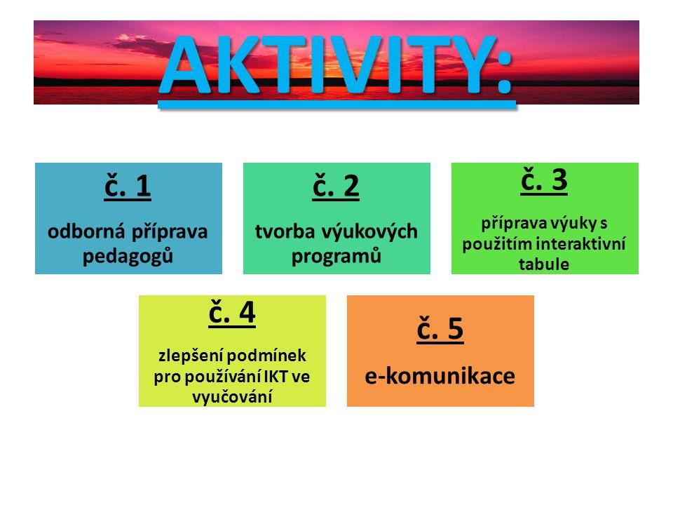 AKTIVITY: č. 1 odborná příprava pedagogů č. 2 tvorba výukových programů č. 3 příprava výuky s použitím interaktivní tabule č. 4 zlepšení podmínek pro