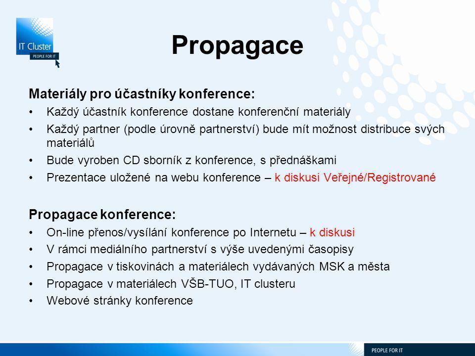 Propagace Materiály pro účastníky konference: Každý účastník konference dostane konferenční materiály Každý partner (podle úrovně partnerství) bude mít možnost distribuce svých materiálů Bude vyroben CD sborník z konference, s přednáškami Prezentace uložené na webu konference – k diskusi Veřejné/Registrované Propagace konference: On-line přenos/vysílání konference po Internetu – k diskusi V rámci mediálního partnerství s výše uvedenými časopisy Propagace v tiskovinách a materiálech vydávaných MSK a města Propagace v materiálech VŠB-TUO, IT clusteru Webové stránky konference