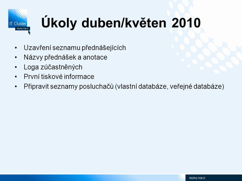 Úkoly duben/květen 2010 Uzavření seznamu přednášejících Názvy přednášek a anotace Loga zúčastněných První tiskové informace Připravit seznamy posluchačů (vlastní databáze, veřejné databáze)