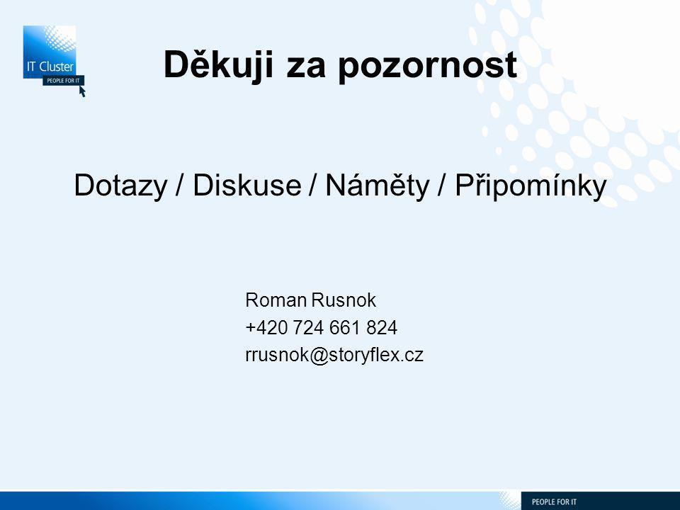Děkuji za pozornost Dotazy / Diskuse / Náměty / Připomínky Roman Rusnok +420 724 661 824 rrusnok@storyflex.cz