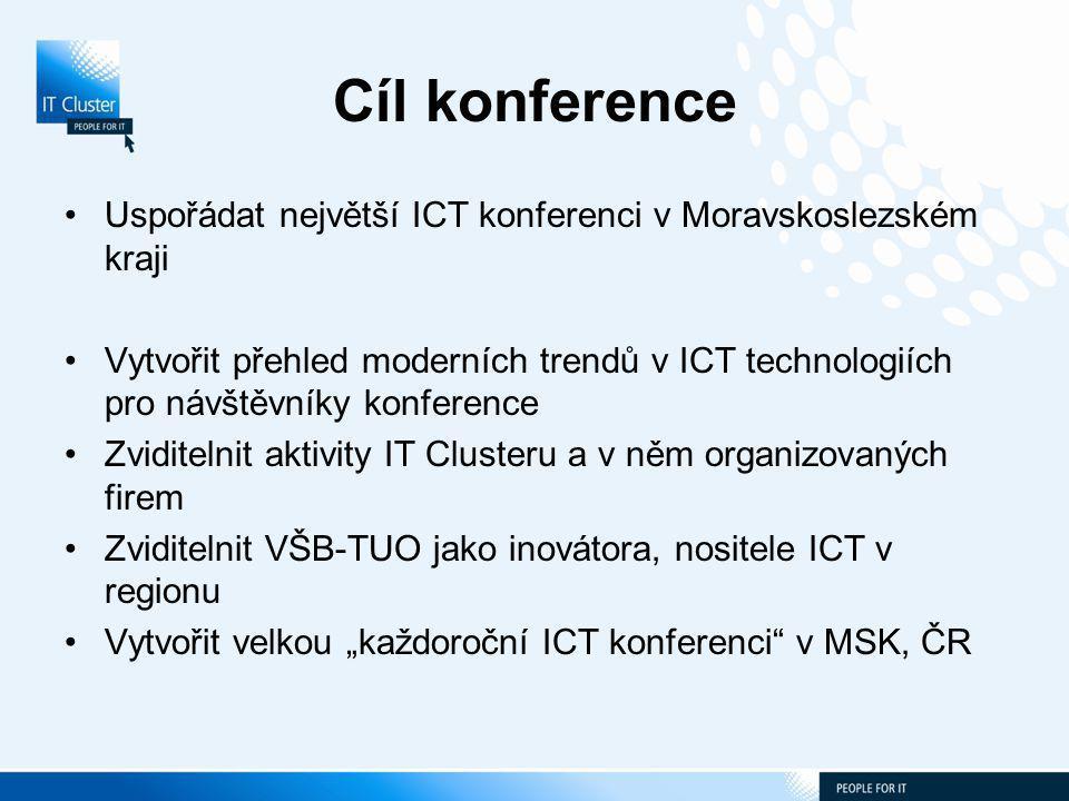 """Cíl konference Uspořádat největší ICT konferenci v Moravskoslezském kraji Vytvořit přehled moderních trendů v ICT technologiích pro návštěvníky konference Zviditelnit aktivity IT Clusteru a v něm organizovaných firem Zviditelnit VŠB-TUO jako inovátora, nositele ICT v regionu Vytvořit velkou """"každoroční ICT konferenci v MSK, ČR"""
