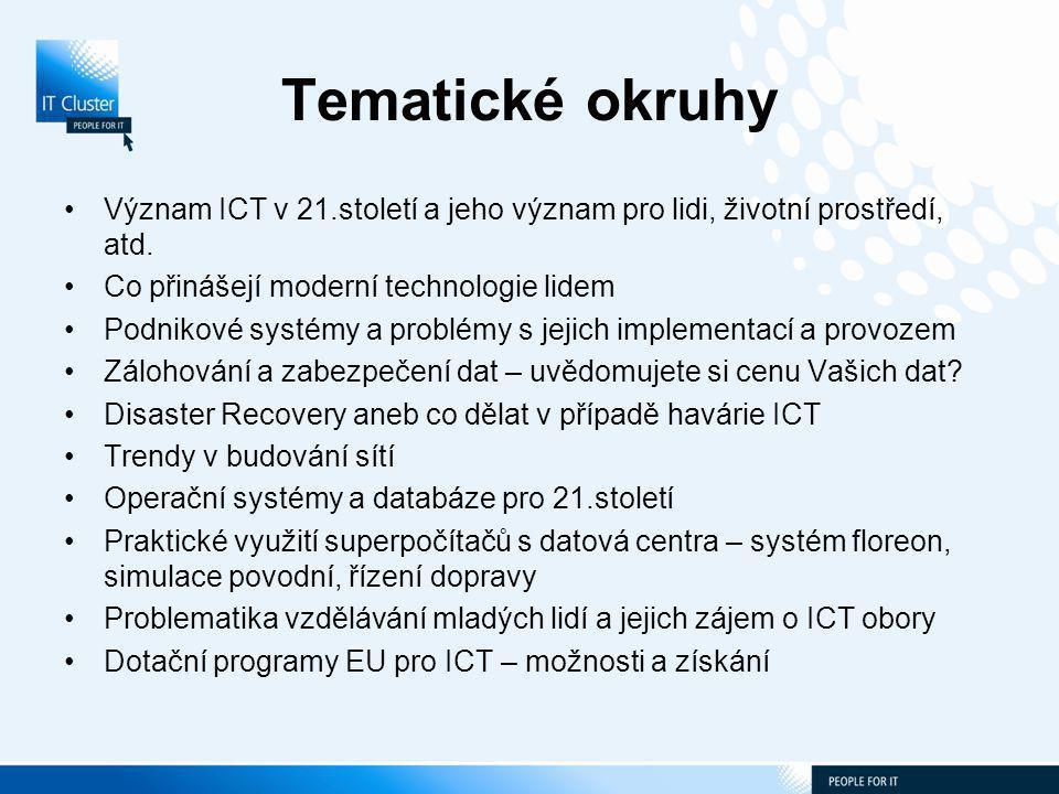 Tematické okruhy Význam ICT v 21.století a jeho význam pro lidi, životní prostředí, atd.