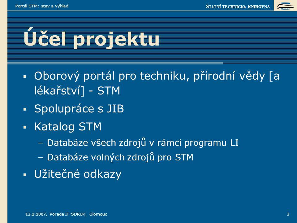 S TáTNÍ TECHNICKá KNIHOVNA 13.2.2007, Porada IT-SDRUK, Olomouc Portál STM: stav a výhled 3 Účel projektu  Oborový portál pro techniku, přírodní vědy [a lékařství] - STM  Spolupráce s JIB  Katalog STM –Databáze všech zdrojů v rámci programu LI –Databáze volných zdrojů pro STM  Užitečné odkazy
