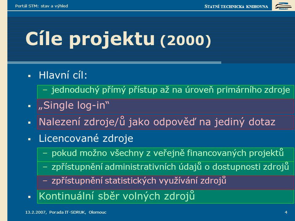 """S TáTNÍ TECHNICKá KNIHOVNA 13.2.2007, Porada IT-SDRUK, Olomouc Portál STM: stav a výhled 4 Cíle projektu (2000)  Hlavní cíl: –jednoduchý přímý přístup až na úroveň primárního zdroje  """"Single log-in  Nalezení zdroje/ů jako odpověď na jediný dotaz  Licencované zdroje –pokud možno všechny z veřejně financovaných projektů –zpřístupnění administrativních údajů o dostupnosti zdrojů –zpřístupnění statistických využívání zdrojů  Kontinuální sběr volných zdrojů"""