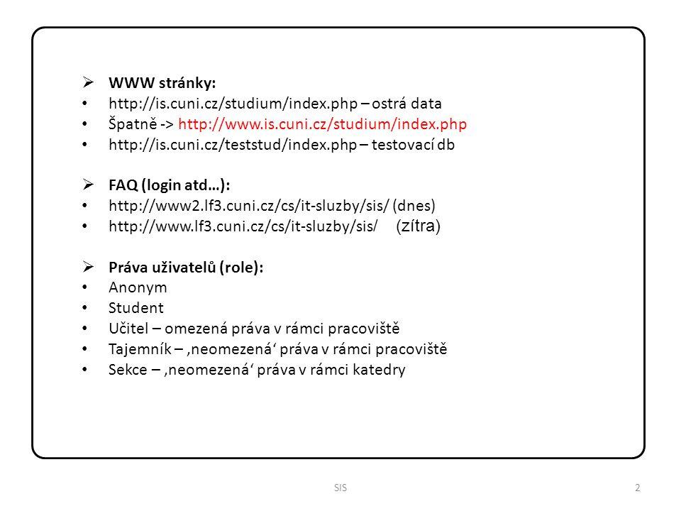 3SIS  Přihlášení: Login Heslo – pozor na Num Lock, Caps Lock Výběr role  Dostupné aplikace: Vypisování témat prací Hledání studentů Vyhledávání loginů Nástěnka Osobní údaje Předměty Studijní sestavy Termíny zkoušek přihlašování Termíny zkoušek vypisování Výsledky zkoušek