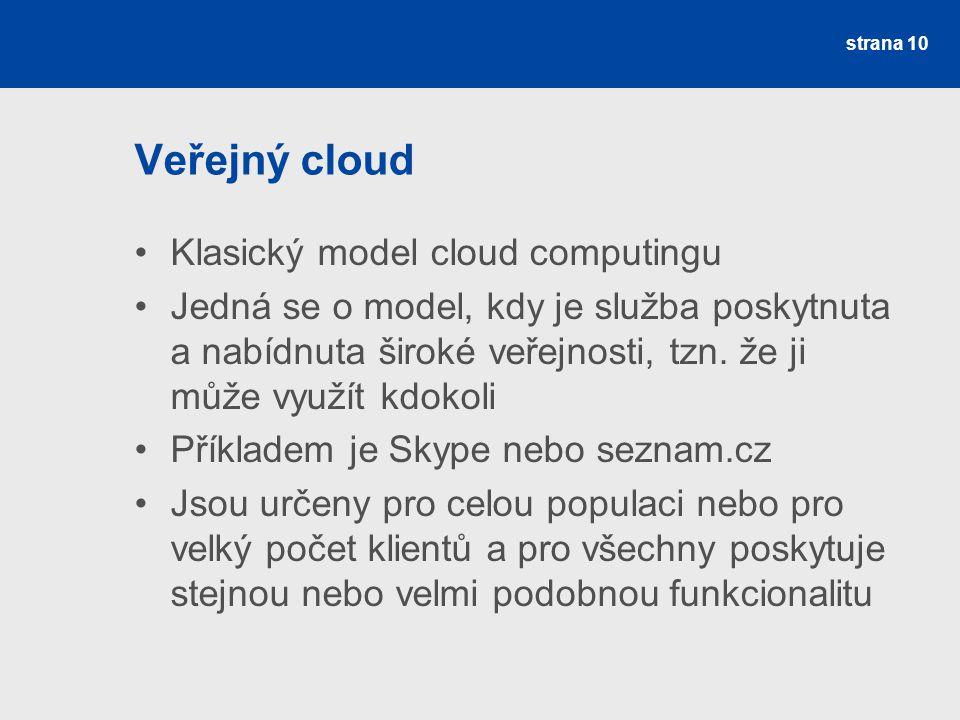 Veřejný cloud Klasický model cloud computingu Jedná se o model, kdy je služba poskytnuta a nabídnuta široké veřejnosti, tzn.