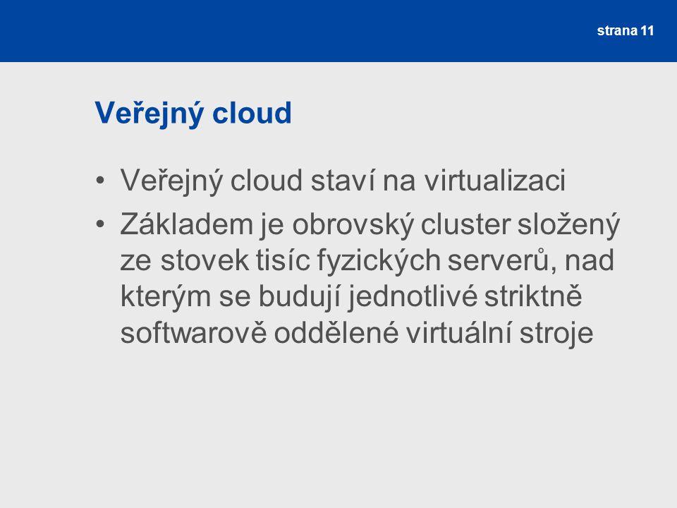 Veřejný cloud Veřejný cloud staví na virtualizaci Základem je obrovský cluster složený ze stovek tisíc fyzických serverů, nad kterým se budují jednotlivé striktně softwarově oddělené virtuální stroje strana 11