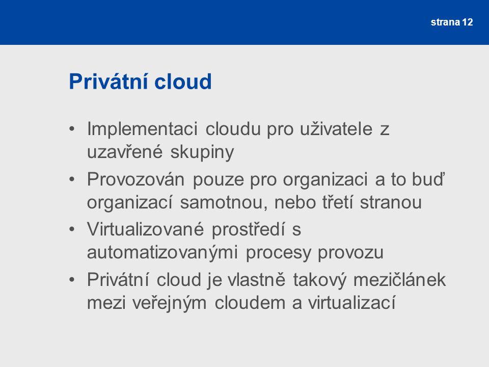 Privátní cloud Implementaci cloudu pro uživatele z uzavřené skupiny Provozován pouze pro organizaci a to buď organizací samotnou, nebo třetí stranou Virtualizované prostředí s automatizovanými procesy provozu Privátní cloud je vlastně takový mezičlánek mezi veřejným cloudem a virtualizací strana 12