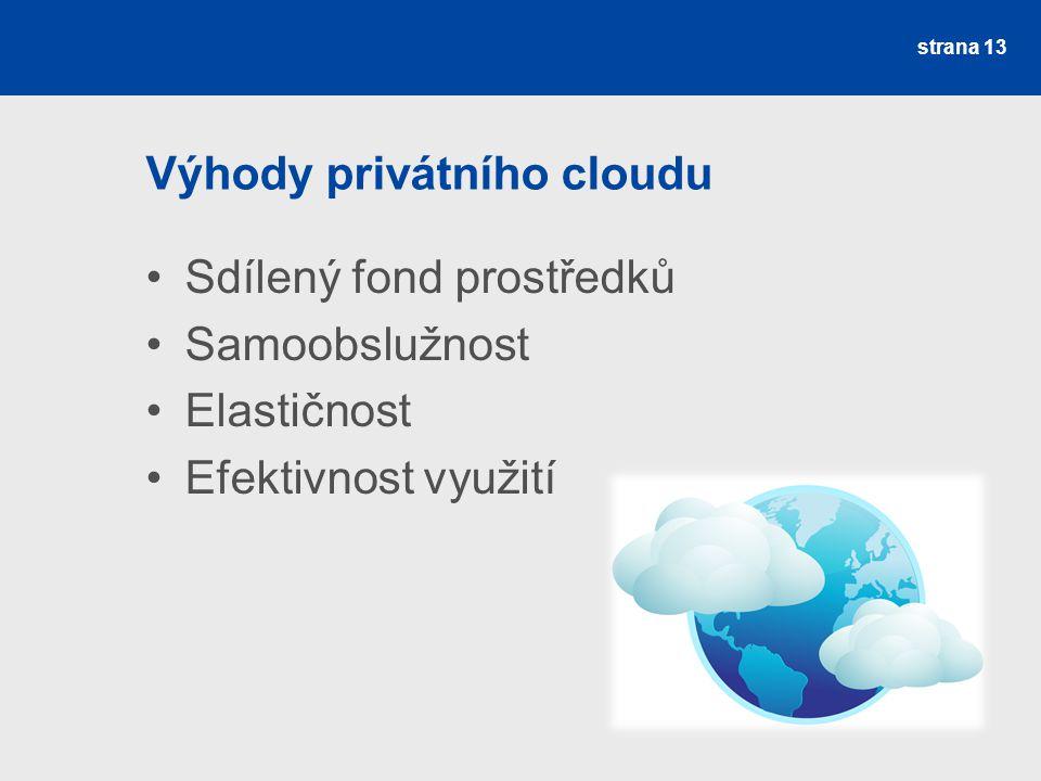 Výhody privátního cloudu Sdílený fond prostředků Samoobslužnost Elastičnost Efektivnost využití strana 13