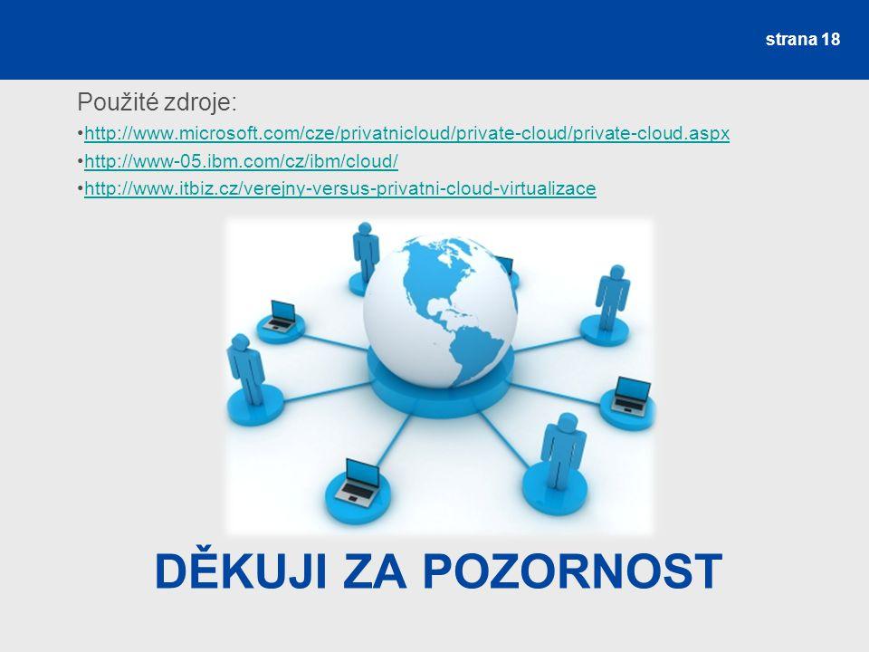 DĚKUJI ZA POZORNOST Použité zdroje: http://www.microsoft.com/cze/privatnicloud/private-cloud/private-cloud.aspx http://www-05.ibm.com/cz/ibm/cloud/ http://www.itbiz.cz/verejny-versus-privatni-cloud-virtualizace strana 18