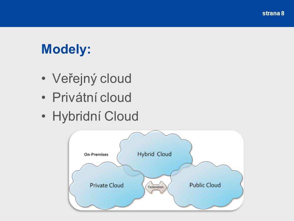 Modely: Veřejný cloud Privátní cloud Hybridní Cloud strana 8