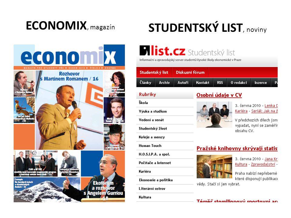 ECONOMIX, magazín STUDENTSKÝ LIST, noviny