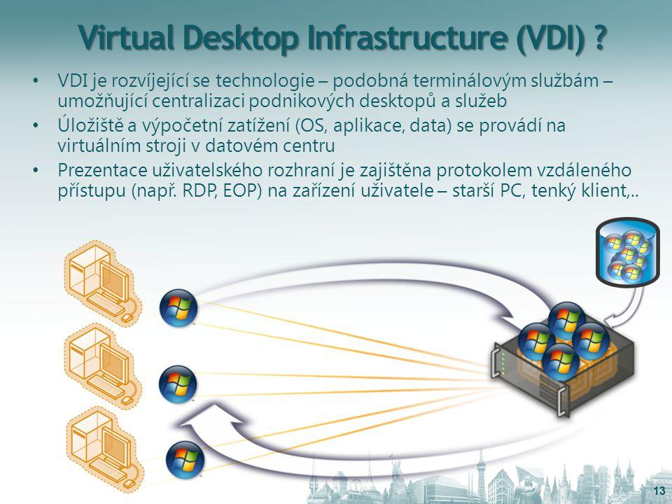 Virtual Desktop Infrastructure (VDI) ? VDI je rozvíjející se technologie – podobná terminálovým službám – umožňující centralizaci podnikových desktopů